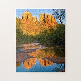 USA, Arizona. Cathedral Rock At Sunset Jigsaw Puzzle