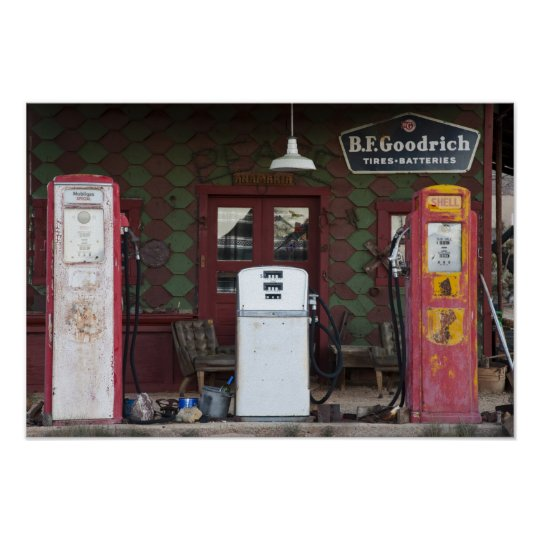 USA, Arizona. Chloride Ghost Town, old gas Poster