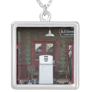 USA, Arizona. Chloride Ghost Town, old gas Silver Plated Necklace