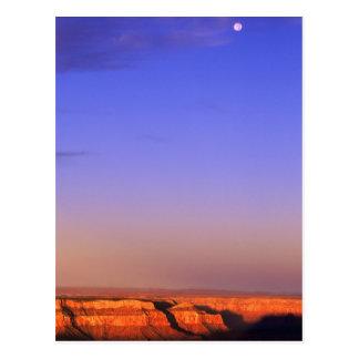 USA, Arizona, Grand Canyon NP. Moon in sky as Postcard