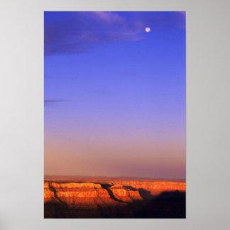 USA, Arizona, Grand Canyon NP. Moon in sky as Poster