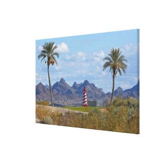 USA, Arizona, Lake Havasu City. Lighthouse next Canvas Print