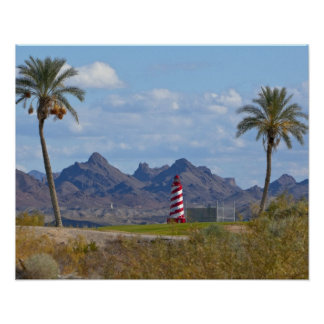 USA, Arizona, Lake Havasu City. Lighthouse next Poster