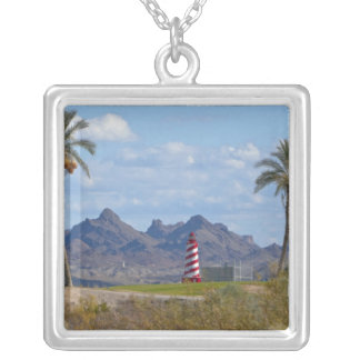 USA, Arizona, Lake Havasu City. Lighthouse next Silver Plated Necklace