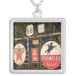 USA, Arizona, Sedona: Antique Advertising Signs Silver Plated Necklace