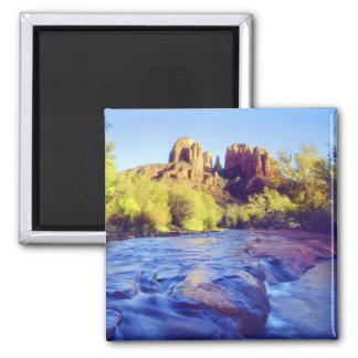USA, Arizona, Sedona. Cathedral Rock reflecting 2 2 Inch Square Magnet