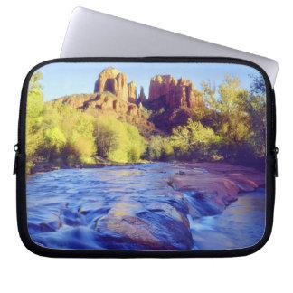 USA, Arizona, Sedona. Cathedral Rock reflecting 2 Laptop Sleeves