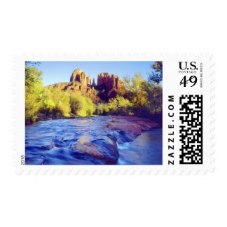 USA, Arizona, Sedona. Cathedral Rock reflecting 2 Postage Stamp