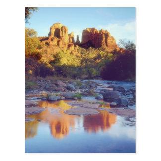 USA, Arizona, Sedona. Cathedral Rock reflecting Postcard