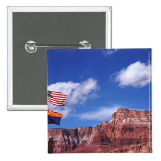 USA, Arizona, Tow flags in Grand Canyon National Pinback Button