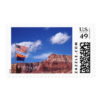 USA, Arizona, Tow flags in Grand Canyon National Postage Stamp
