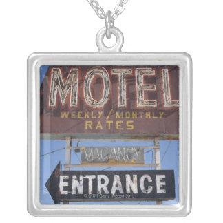 USA, Arizona, Winslow, Old-fashioned motel sign Silver Plated Necklace