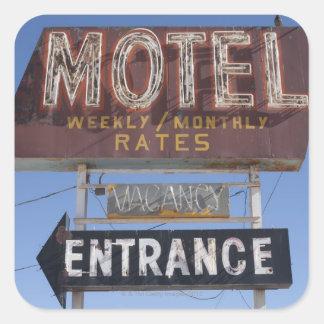 USA, Arizona, Winslow, Old-fashioned motel sign Square Sticker