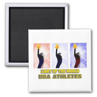 USA Athletes Light Up The World 2 Inch Square Magnet