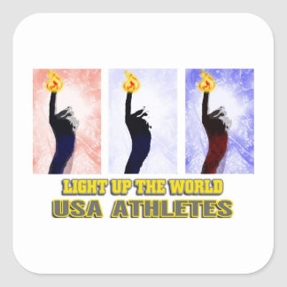 USA Athletes Light Up The World Square Sticker