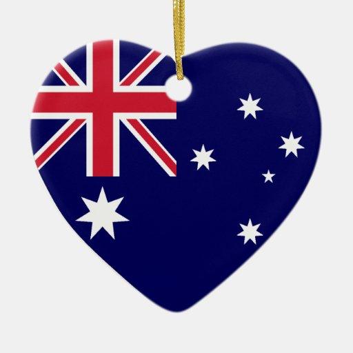 USA & Australia Flag Heart Ornament