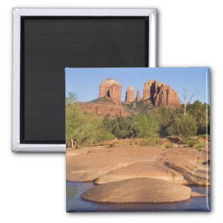 USA, AZ, Cathedral Rocks at Red Rock Crossing 2 Inch Square Magnet