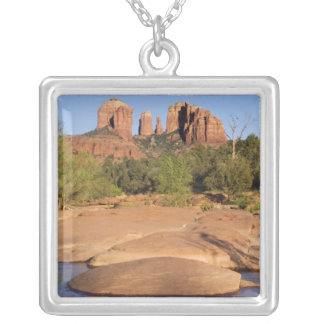 USA, AZ, Cathedral Rocks at Red Rock Crossing Square Pendant Necklace