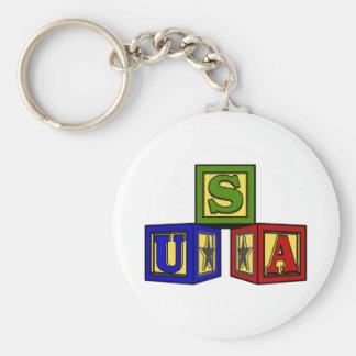 USA Baby Blocks Basic Round Button Keychain