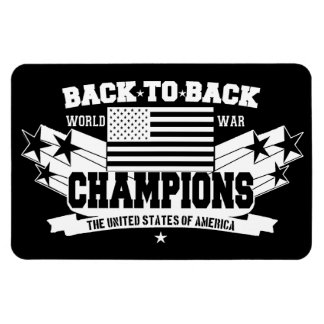 USA Back To Back Champions Patriotic Flexi Magnet Rectangle Magnets