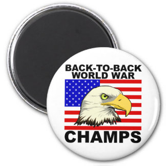 USA:  Back To Back World War Champs 2 Inch Round Magnet