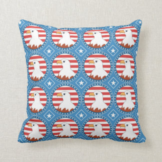 USA bald eagle pattern Throw Pillow