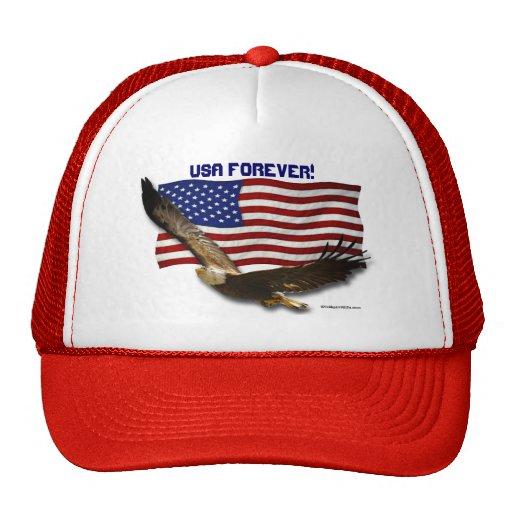 USA Bald Eagle & US Flag USA FOREVER Hat