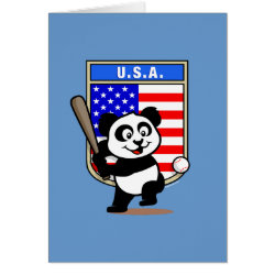 Greeting Card with USA Baseball Panda design