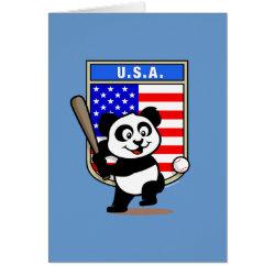 Greeting Card with USA Baseball Panda design