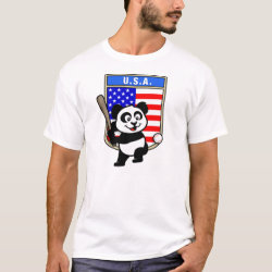 USA Baseball Panda Men's Basic T-Shirt