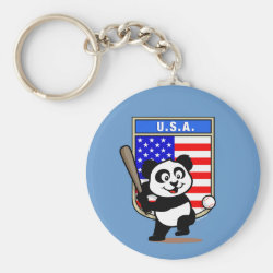 Basic Button Keychain with USA Baseball Panda design