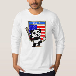 Men's American Apparel Fine Jersey Long Sleeve T-Shirt with USA Baseball Panda design