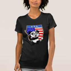 Women's American Apparel Fine Jersey Short Sleeve T-Shirt with USA Baseball Panda design