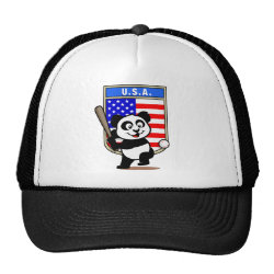 Trucker Hat with USA Baseball Panda design