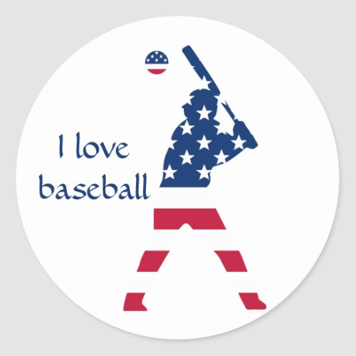 USA Baseball player American flag Classic Round Sticker