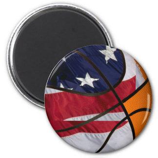 USA Basket Ball 2 Inch Round Magnet