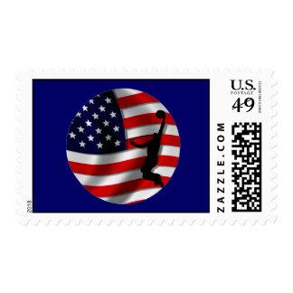 usa basketball postage stamp