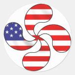 usa basque cross classic round sticker