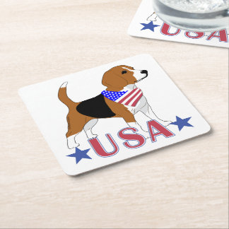 USA Beagle Patriotic Dog Flag Bandanna Square Paper Coaster