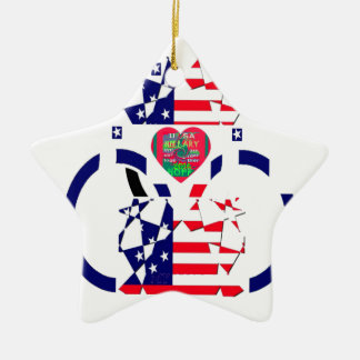 USA Beautiful Amazing Text Lovely Heart colors Art Ceramic Ornament