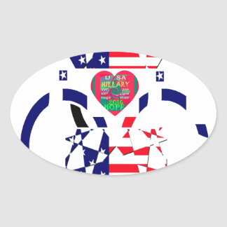 USA Beautiful Amazing Text Lovely Heart colors Art Oval Sticker