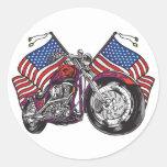 USA Biker Classic Round Sticker
