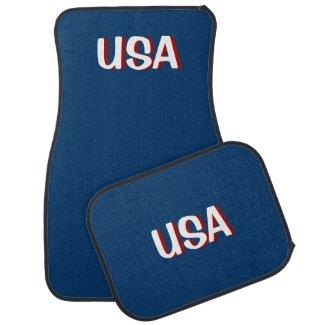 USA Blue Car Mats