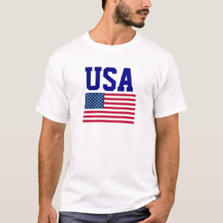 USA Blue Wording and United States of America Flag T-Shirt