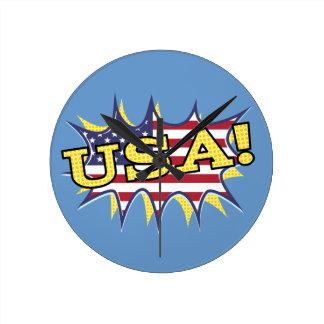 USA Boom Pop Pow flag star burst Round Clocks