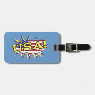 USA Boom Pop Pow flag star burst Luggage Tag