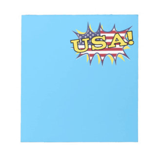USA Boom Pop Pow flag star burst Memo Note Pad