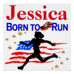 USA BORN TO RUN PERSONALIZED POSTER