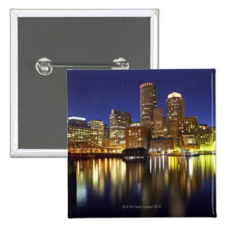 USA, Boston, city skyline at night (long 2 Inch Square Button