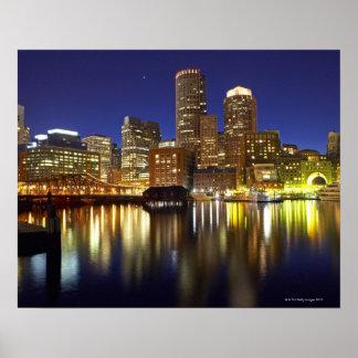 USA, Boston, city skyline at night (long Poster